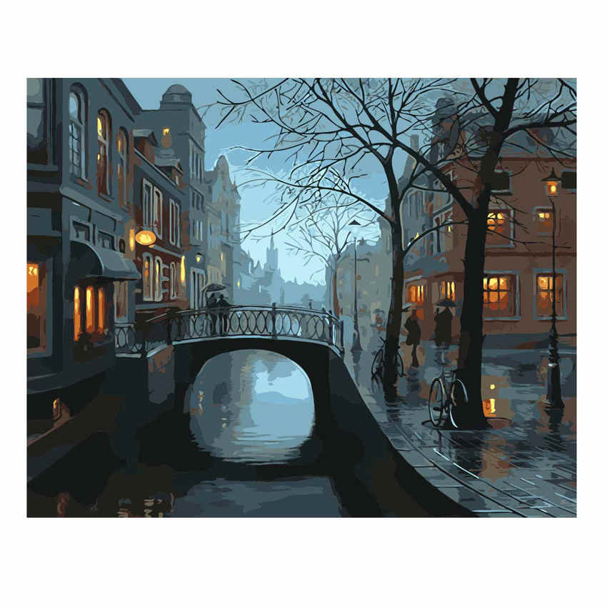 WONZOM Night City Bridge Painting By Numbers Oil Painting Cuadros Decoracion Acrylic Paint On Canvas Modern 9 Type Home Decor