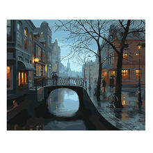 WONZOM Night City Bridge Painting By Numbers Oil Cuadros Decoracion Acrylic Paint On Canvas Modern 9 Type Home Decor