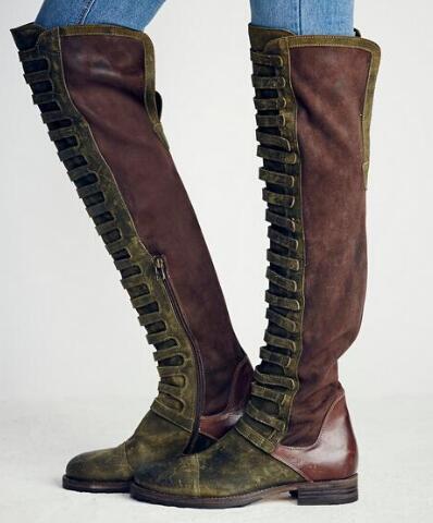 Nieuwe collectie Dames Schoenen Lente Laarzen Platte hak Schoenen Informeel Mode Motorlaarzen Bandjes Cover Dames Ridderlaarzen