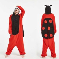 2018 Warm Lady Bug Costumes Halloween Animal Adult Disfraz Ladybug Onesie Unisex Insect Pajamas Romper Christmas