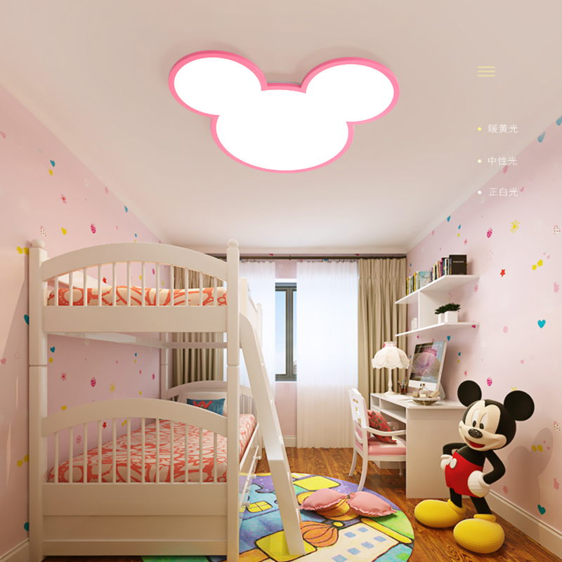 Blanc ou Rose Couleur Mickey Moderne Led plafonniers lampe pour Enfants Chambre Enfant Chambre Déco Surface Monté Plafonnier appareils