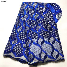 High quality royal blue African tulle lace fabric
