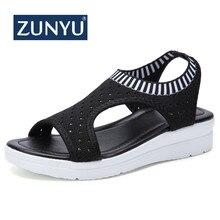 ZUNYU/Новая Летняя женская обувь на плоской подошве, 9 цветов Модные женские сандалии удобные босоножки на танкетке женские пикантные сандалии, большие размеры 35-45