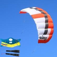 FREE SHIPPING Q3 3Sqm Power Dual Line Parachute Kite with 100kg x 20m x 2,2 Line Wrist Strap For Beginner Landboarding
