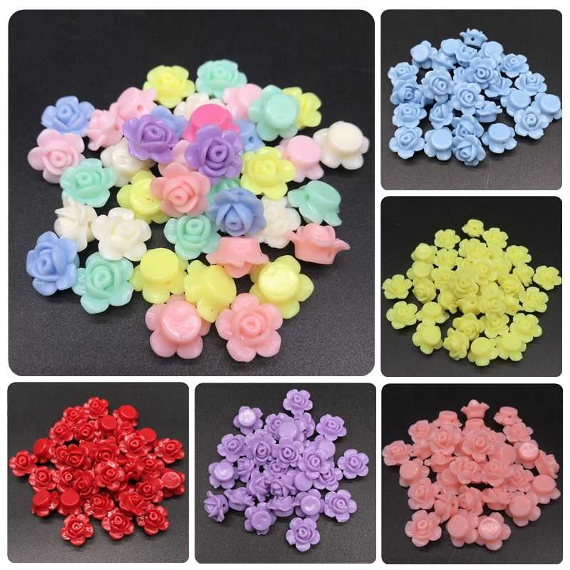 13*13mm 50pcs/lot Rose Acrylic Bead DIY Handmade Beads For Bracelet Necklace Jewelry Accessories Fashion Leisure Cheap Pretty