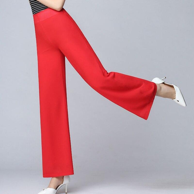 High Waist Chiffon   Pants   Flare Summer   Pants   Women Wide Leg   Pants   Pantalon   Capris   Femme Soft Office   pants   Solid Trousers Loose