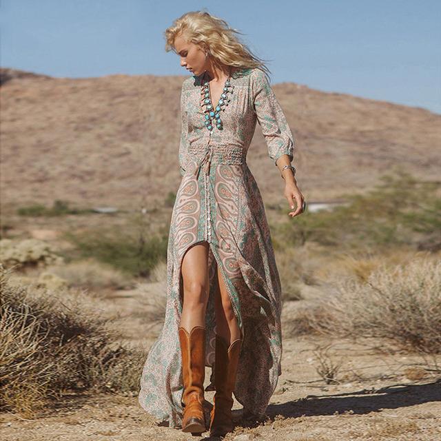 Novas mulheres verão boho bohemian dress 2017 moda causal manga comprida beach dress floral dividir frente de fenda longa maxi vestido de verão
