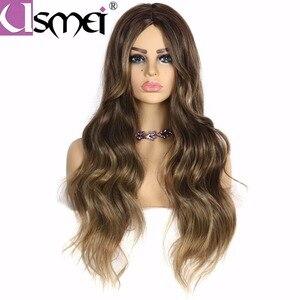 USMEI z długich włosów ciało fala peruki syntetyczne dla białych kobiet mieszane czarne brązowe blond peruka do cosplay lady środkowa część afroamerykanów