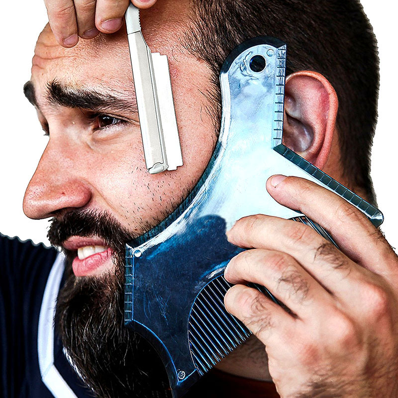 OXFUL Beard Shaping Styling Tool Beard Stencil Guide Template Comb For Men Style Lightweight Beard Hair Line Up Edging Tool