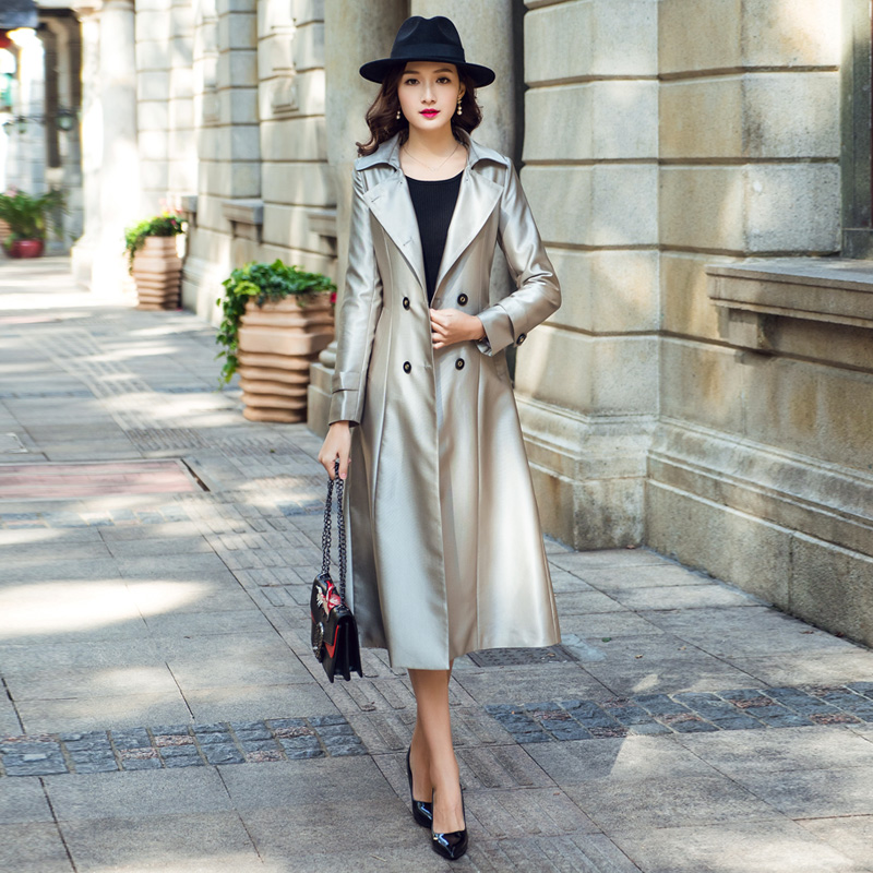 2019 Women Spring Coat Fashion Temperament Slim Long Female Autumn   Trench   Coat Bright Silver Double Breasted Women Trenchcoat