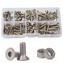 Hex Flat Head Socket Cap Machine Screw Thread Metric Countersunk Hexagon Head Bolt Nut 304 Stainless Steel Assortment Kit Set M4 2pcs m4 200mm m4 200mm thread length 16mm 304 stainless steel dual head screw rod double end screw hanger blot stud