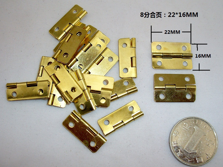 1000Pcs Mini Cabinet Drawer Butt Hinge copper gold small hinge 4 small hole 22*16mm copper hinge With screws 20pcs gold furniture hinges for box door butt decorative small hinge for cabinet drawer furniture hardware with screw 37mmx17mm