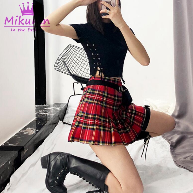 Short Skirt Harajuku Punk-Style Female Red Plaid High-Waist Mini Green Women Cute XS-XL