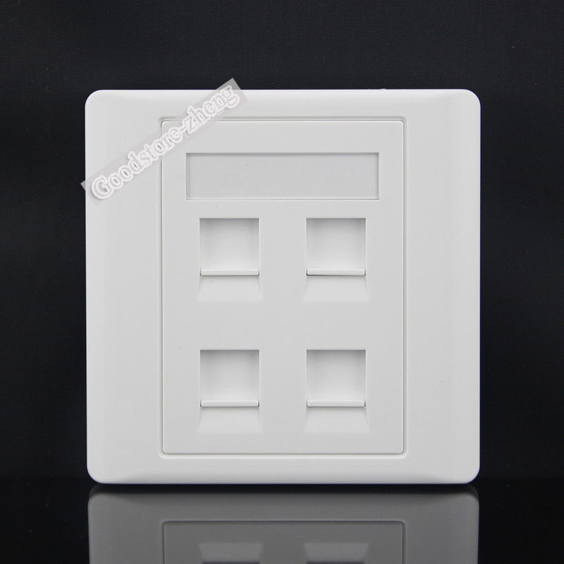 White Computer Network Lan RJ45 Socket Wall Plate Panel Outlet Face 86mm
