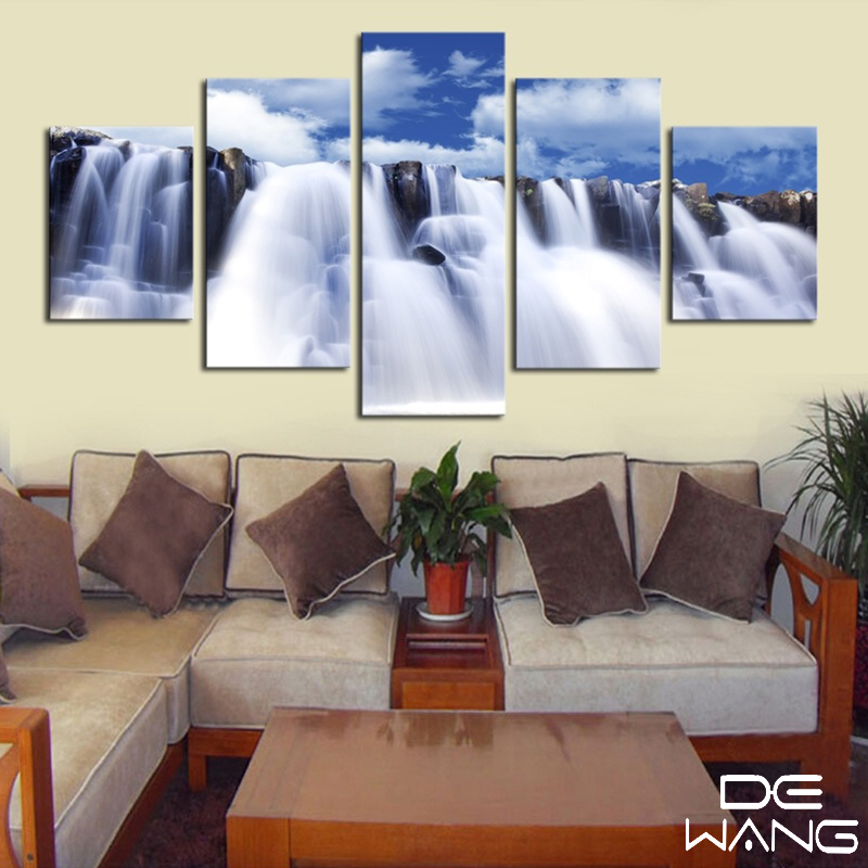 5 Piece Canvas Frame Modern Abstract White Niagara falls Canvas Art ...