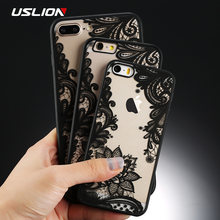USLION Sexy Floral Phone Case For Apple iPhone 7 8 6 6s 5 5s SE Plus Lace Flower Hard PC Cases Back Cover For iPhone X XR XS Max(China)