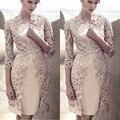 В Мода Шампанское Атласная С Курткой Матери Невесты Платья 2017 Кружева Колен Молния Назад Сшитое Для Женщин Платья