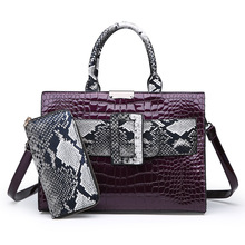 Serpentine Luxury Large Capacity Shopping Tote Bags for Women 2019 High Qaulity PU Leather Casual 2 Pieces Set Shoulder