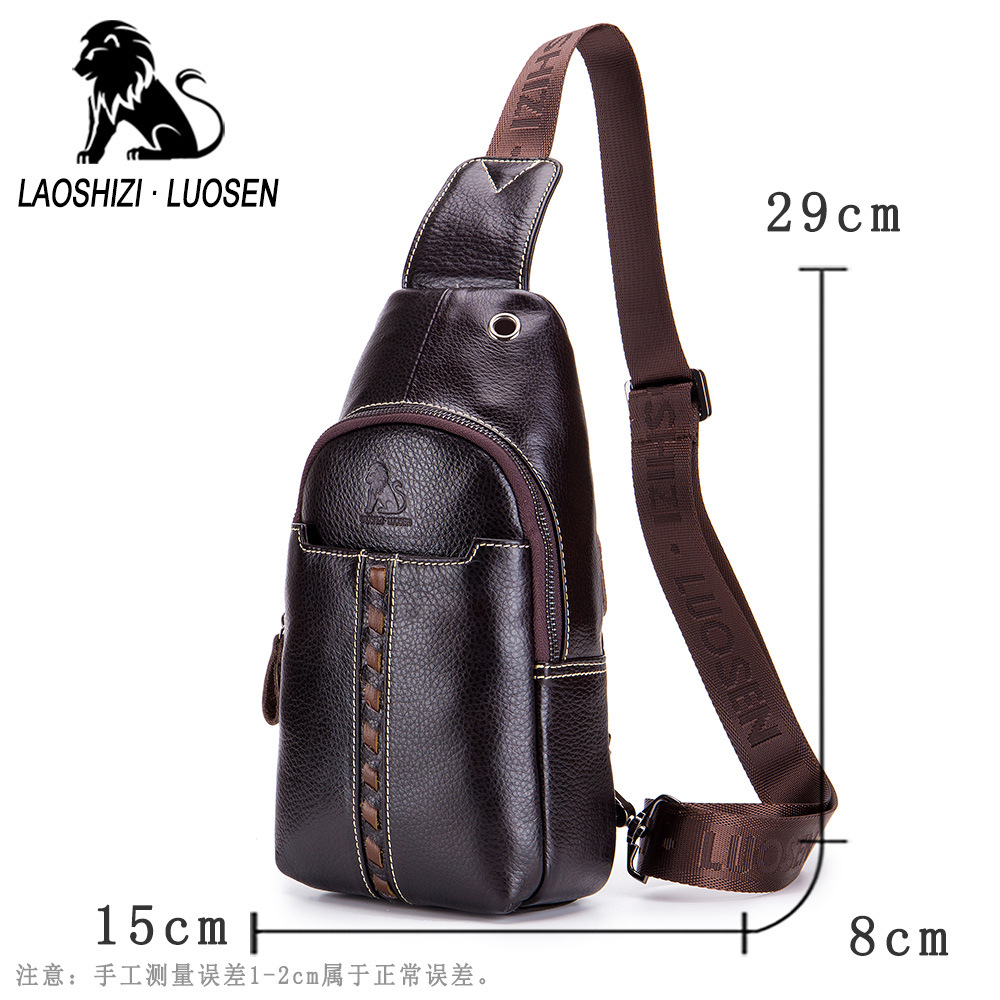 LAOSHIZI LUOSEN Vintage Echt Lederen Schoudertas Kleine Mannen Borst Pakken Crossbody Enkele Riem Sling Bag Man Messenger Bag - 2
