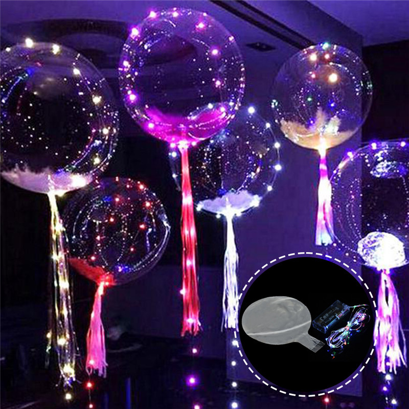 Flashing Toys Transparent Bubble Balloon Glowing Light Pvc Decorative Ball For Indoor Bar Ktv Party Decorative Balloons