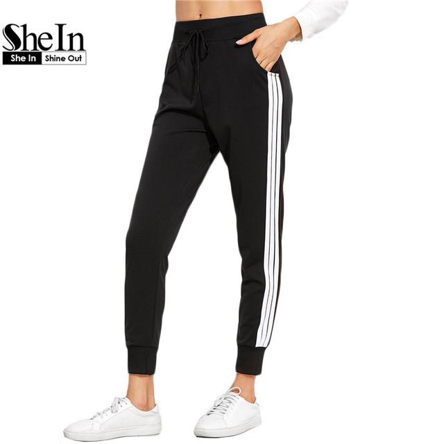 SheIn Sweatpants Mujeres Pantalones de Cordón Ocasional Pantalones Sueltos de Cintura Para Las Mujeres Otoño Negro Rayas Laterales Pantalones de Chándal