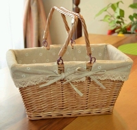 Big Vintage Wicker Picnic Basket Fruit Storage Basket With Folding Handle Snacks Willow Picnic Basket Hamper