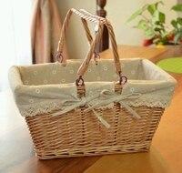 Big Vintage Wicker Picnic Basket Fruit Storage Basket With Folding Handle Snacks Willow Picnic Basket Hamper