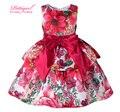 Pettigirl 2016 Новая Европа Стиль Цветочный Печати Платья С Красным Поясом Лук Розничная Девочка Одежда GD81007-78Z