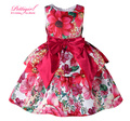 Pettigirl 2016 New Europe Style Flower Print Girls Dresses With Red Sash Bow Retail Baby Girl Clothes GD81007-78Z