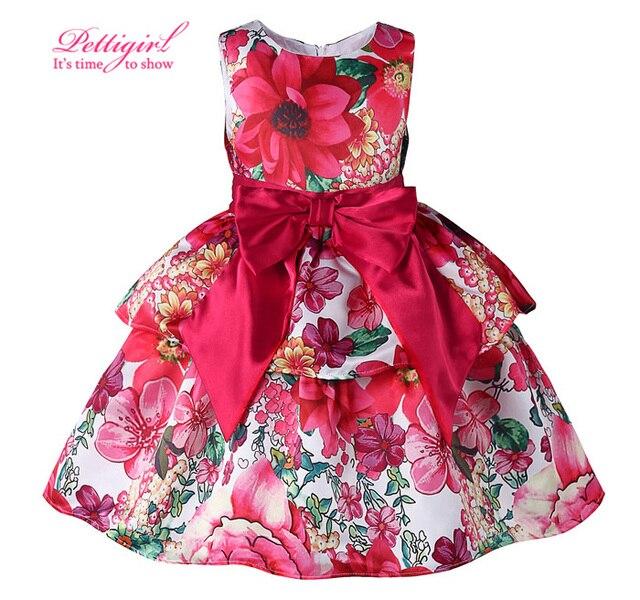 4b64dd41dc7 Pettigirl Rouge Fleur Imprimer Filles Robes Bébé Enfants Robe Avec Ceinture  Rouge Arc Fille Sans Manches