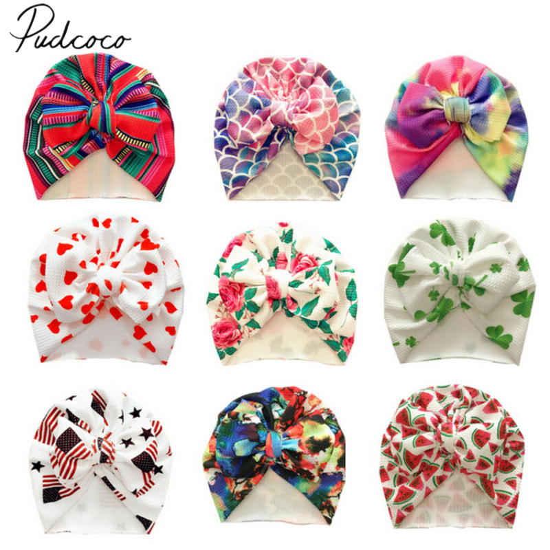 2019 Baby Accessories Cute Newborn Baby Infant Girl Boys Toddler Comfy Bowknot Hospital Cap Beanie Hat Colorful Caps Kids Gifts