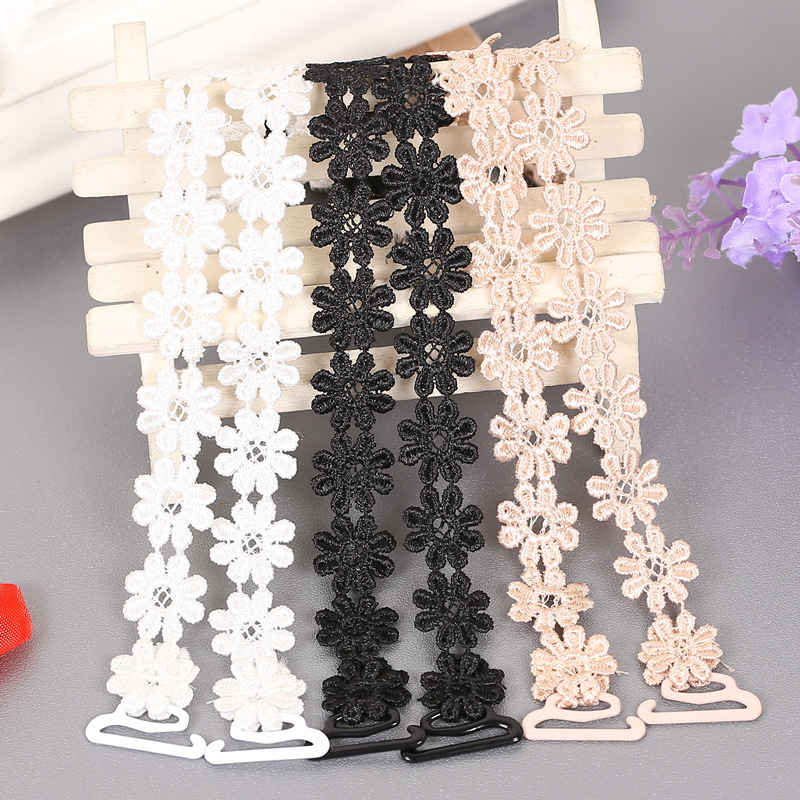 Women Bra Accessories Crochet Floral Lace Bra Strap Anti-slip Elastic Adjustable Belt Shoulder Straps For Bridal Wedding Party