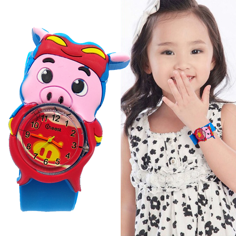 Christmas Present Cartoon Pig Watch Children Kids Watches Colorful Belt Child Wristwatch Students Clock For Baby Boys Girls Gift