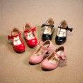 Детская обувь девочек квартиры для детей 2016 Весна Осень девушка на высоких каблуках принцесса Лян кожаная обувь Красный Розовый Black26-30 zapatos