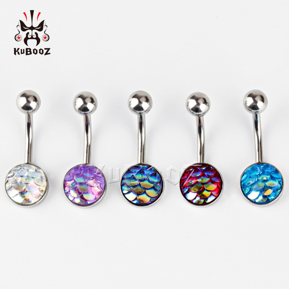 Kubooz piercing stainless steel Navel Piercing Silver Belly Button Piercings Navels Rings Piercings mix 5 colors 60 pcs lot sexy rhinestone ball green leaf medical stainless steel piercing belly button rings body piercing navel jewelry