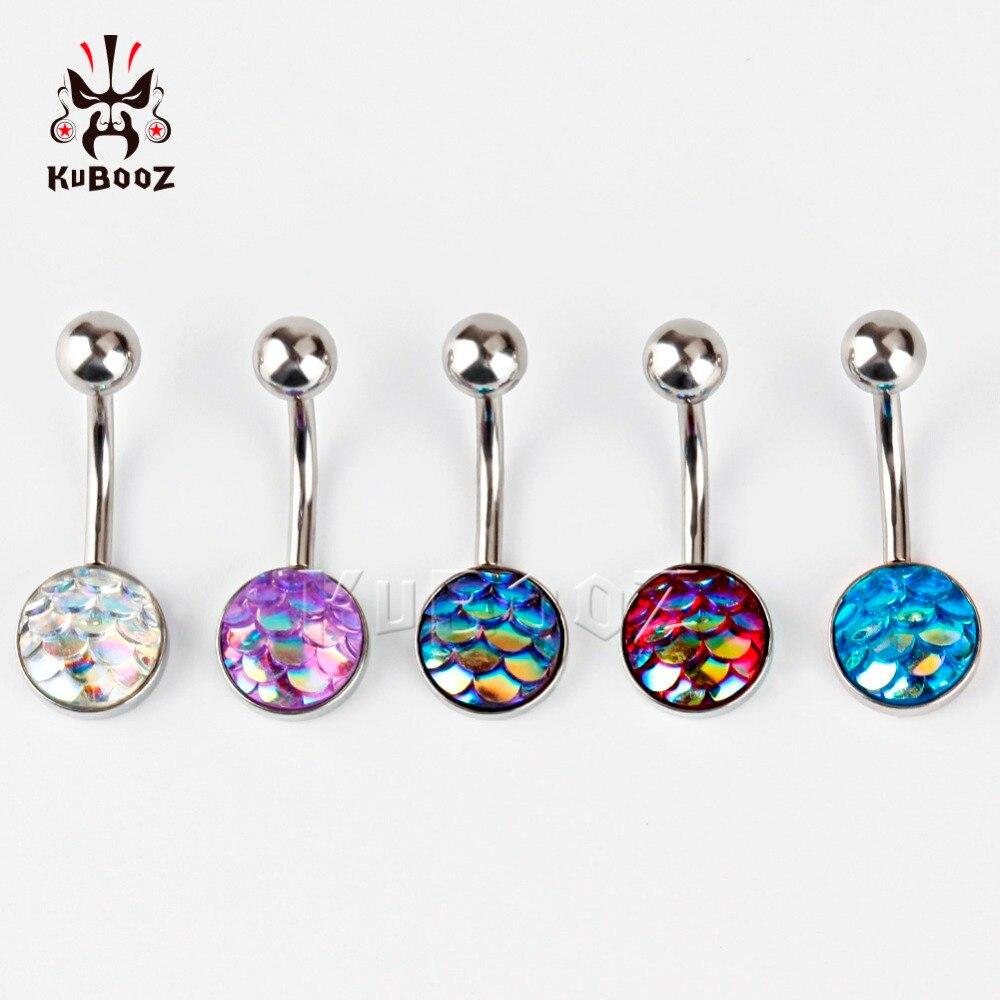 Kubooz piercing stainless steel Navel Piercing Silver Belly Button Piercings Navels Rings Piercings mix 5 colors glow in dark plastic navel belly body piercing bars rings multicolored 7 pcs