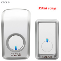 CACAZI Wireless doorbell 350m Remote waterproof Door bell chime ring EU Plug AC 110-220V 48 Music 1 2 transmitter 1 2 3 receiver