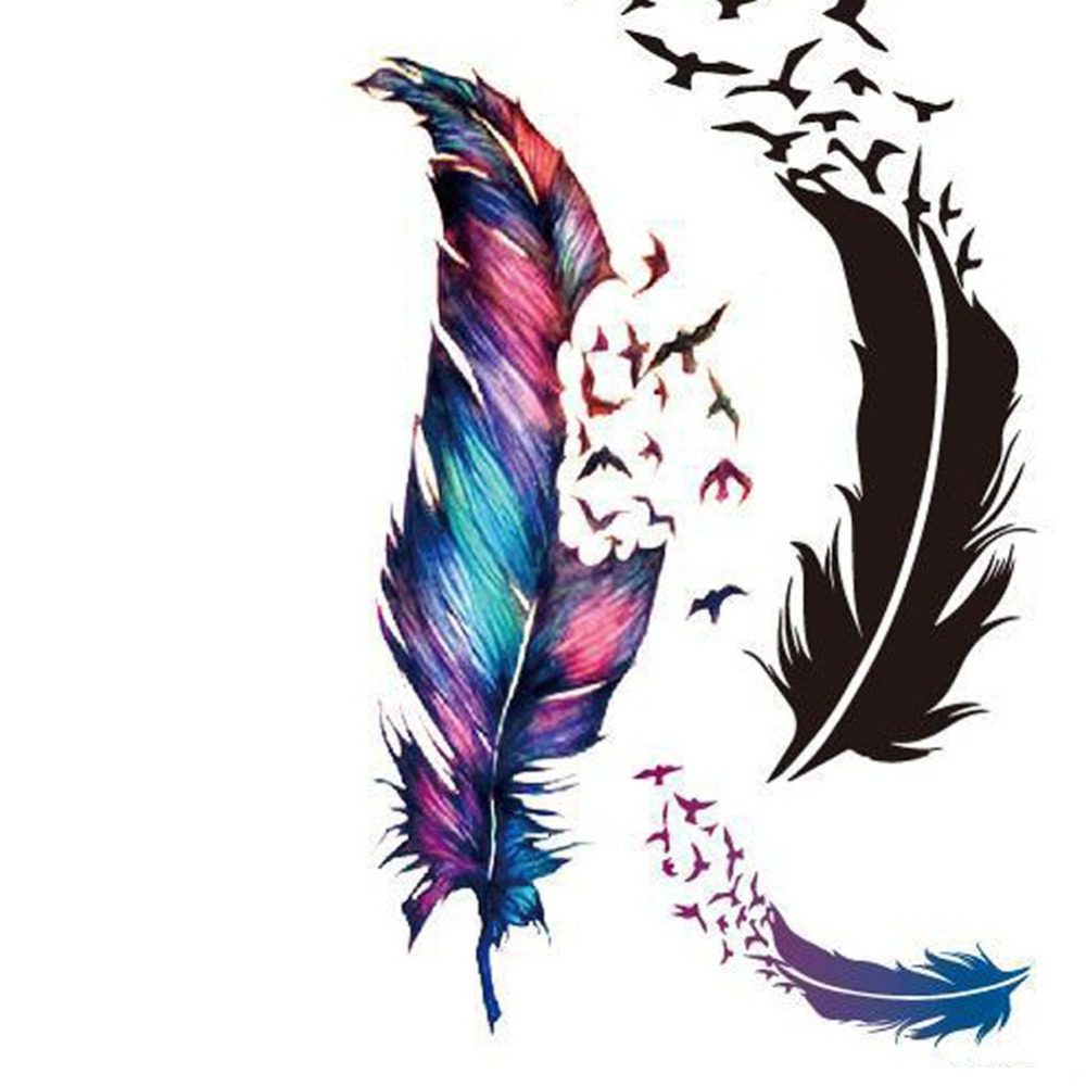 5pcslot Trendy Waterproof Small Fresh Wild Goose Feather Pattern Tattoo Stickers - Photo Color Charming Body Accessories 0250
