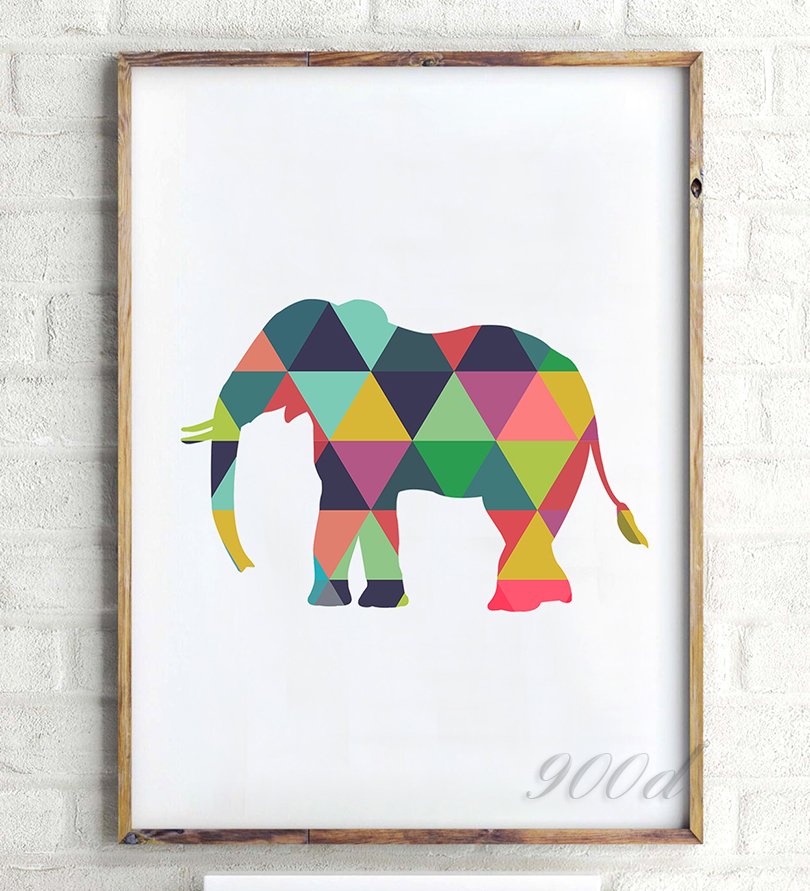 Colorful Geometric Elephant Canvas Art Print Poster, Wall Pictures ...