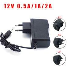 Adaptateur d'alimentation 100-240V AC à 12V DC 0,5a 1A 2A, convertisseur de chargeur, prise ue, 5.5mm x 2.5mm pour interrupteur, bande lumineuse