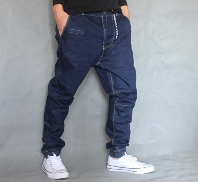 2018 Male Hip Hop Baggy Denim pants Street dance Skateboard hanging crotch Jeans Mens Loose Pencil Jogger Feet Pants A60510