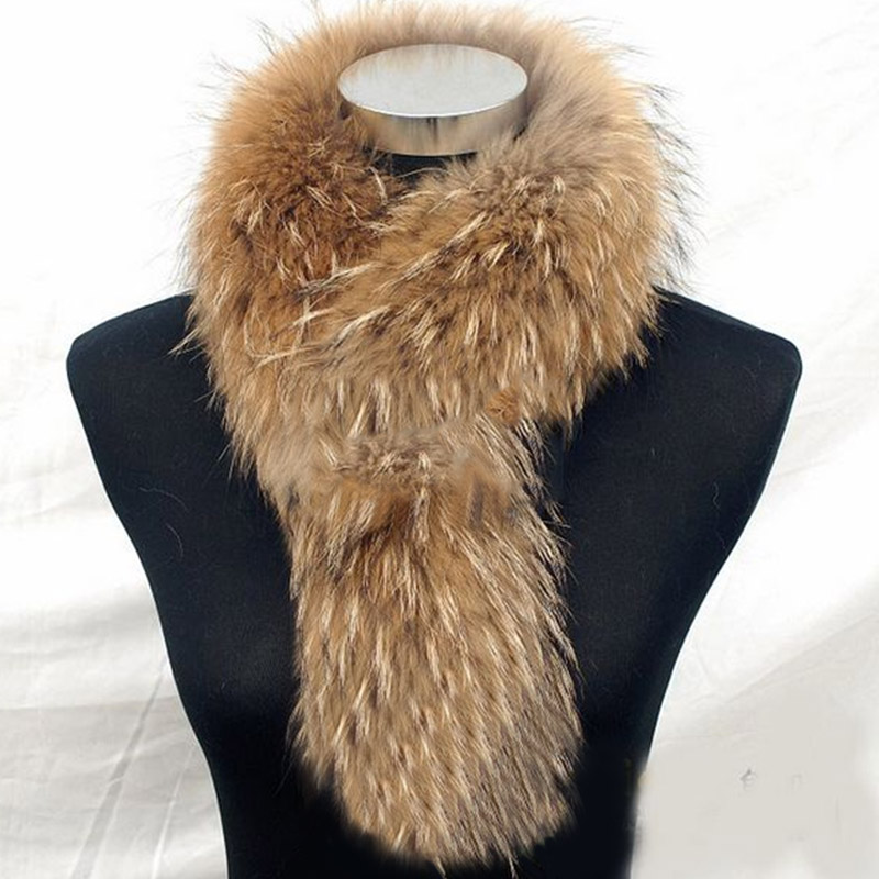 Winter Scarves Women Real Raccoon Fur Designer Scarf Luxury New Brand Trendy For Clothes Russian Fashion Femme Cachecol