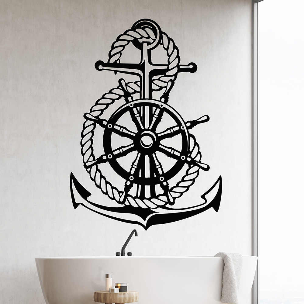 Ocean Sea Style Steering Wheel Ship Anchor Sailor Vinyl Wall Decal Home Decor Living Room Art Mural Wall Stickers Gift
