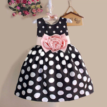 2016 Summer Baby Kids Kid Princess Dress Girls Party Dress Polka Dot Flower Gown Fancy Dresses
