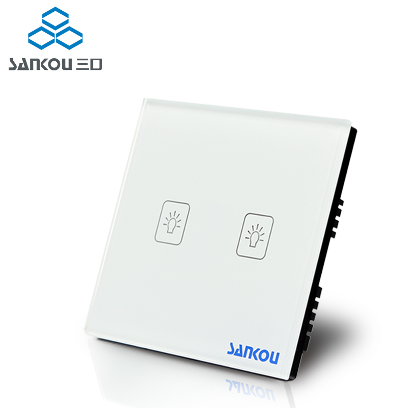 Wall Touch Switches 2Gang1Way UK Standard SANKOU White Crystal Glass+LED Switch Panel AC220V/110V Free Shipping uk standard black crystal glass panel 2 gang 2 way wall switch intelligent touch screen light touch switch led ac 220v