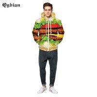 Autumn winter tops men/women 3d sweatshirt Hamburger printing Zipper hoody hooded lovely hoodies