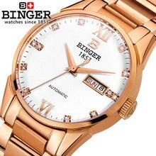 Новый 2016 Бингер Женева Смотреть Полный Стали часы мужчины люксовый бренд Бингер Горный Хрусталь часы Повседневная Аналоговый Автоматическая наручные часы