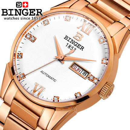 Здесь можно купить   New 2017 Binger Geneva Watch Full Steel watches men luxury brand Binger Rhinestone watch Casual Analog Automatic wristwatches Часы