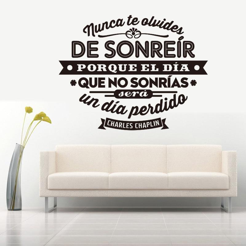 Adesivos Espanhol Nunca te olvides de sonreir Vinil Decalques Adesivo de Parede Decoração Da Casa Da Arte Da Parede para Sala de estar Decoração de Casa