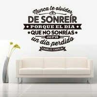 Autocollants espagnols Nunca te olvides de sonreir vinyle Stickers muraux Art mural pour salon décor maison décoration